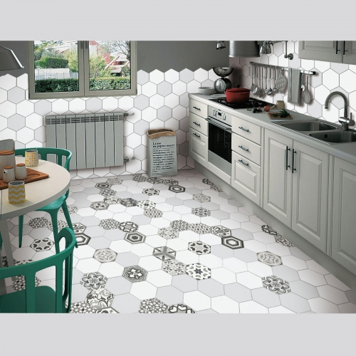 Gray Hexagon Tile In Kitchen Hexagonal