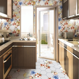 Ceramic Hex Kitchen Tiles